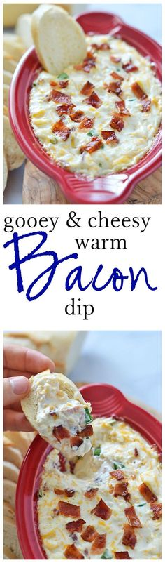 Gooey Cheesy Warm Bacon Dip Recipe | Kitchen meets Girl - The Best Easy Party Appetizers and Finger Foods Recipes - Quick family friendly snacks for Holidays, Tailgating and Super Bowl Parties! #horsdoeuvres #appetizers #fingerfoods #tapas #partyfood #christmaspartyfood #newyearsevepartyfood #newyearseve #tailgating #superbowl #easyappetizers