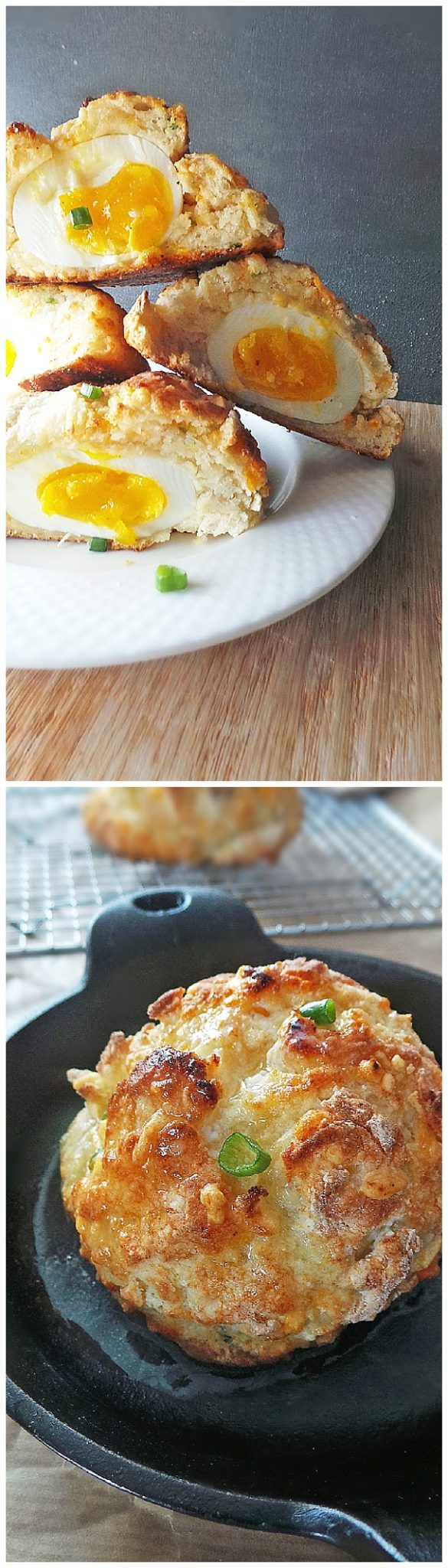 Surprise Cheddar Biscuits with Soft Boiled Egg inside Recipe via Vodka and Biscuits - The Best Homemade Biscuits Recipes - Quick, Easy and Delicious Bread Sides for Breakfast, Brunch, Lunch and Family Dinner! #biscuits #biscuitrecipes #homemdebiscuits #easybiscuits #rolls #homemadebreadsides #bread #breakfastrecipes #comfortfood