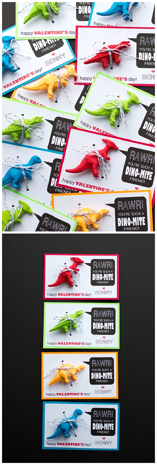 Dino-Mite Valentine FREE PRINTABLES to go with toy dinosaurs for kids classmates - perfect for boys OR girls!  | Hello Design, Meet Life #valentines #freeprintablevalentines #valentinesprintables #freevalentinesdaycards #valentinesdaypartyprintables #valentinesdayparty