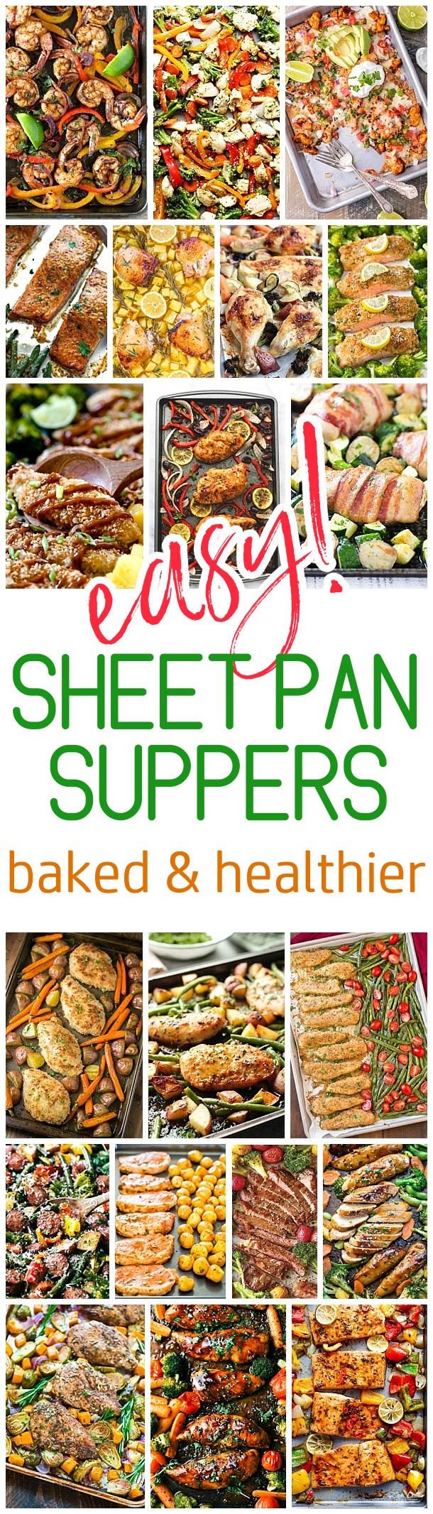 Easy One Sheet Pan Healthier Baked Family Suppers Recipes via Dreaming in DIY - Cleanup and Meal Prep is a BREEZE for quick lunch and simple dinner options. Using less oils and grease, these baked options will become your family favorites! #sheetpansuppers #sheetpanrecipes #sheetpandinners #onepanmeals #healthyrecipes #mealprep #easyrecipes #healthydinners #healthysuppers #healthylunches #simplefamilymeals #simplefamilyrecipes #simplerecipes