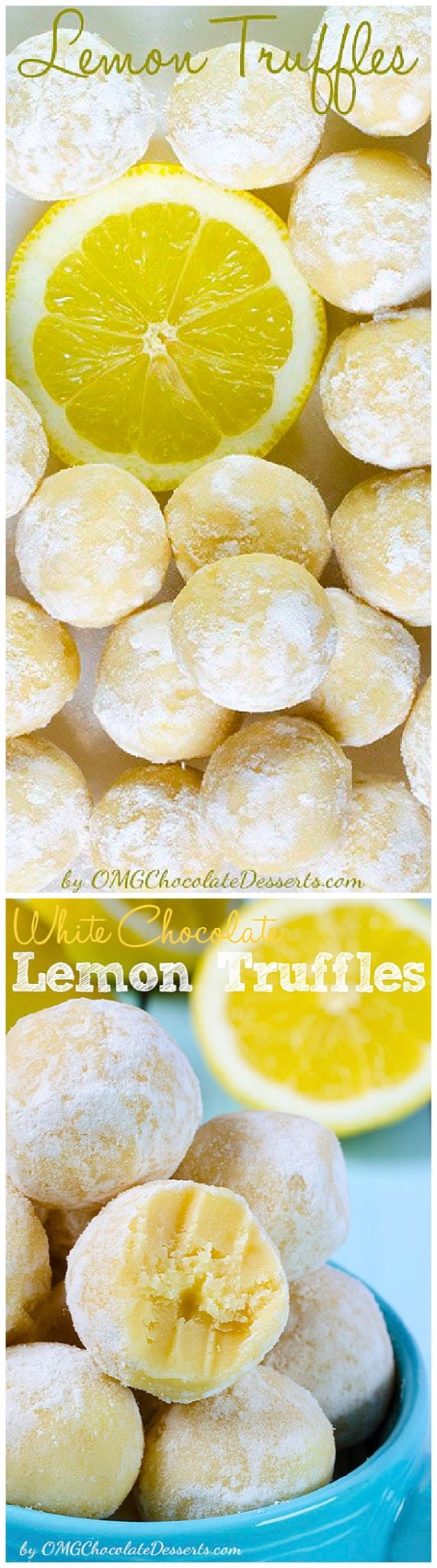 White Chocolate Lemon Truffles Recipe via OMG Chocolate Desserts - The BEST Easy Lemon Desserts and Treats Recipes - Perfect For Easter, Mother's Day Brunch, Bridal or Baby Showers and Pretty Spring and Summer Holiday Party Refreshments! #lemondesserts #lemonrecipes #easylemonrecipes #lemon #lemontreats #easterdesserts #mothersdaydesserts #springdesserts #holidaydesserts #summerdesserts