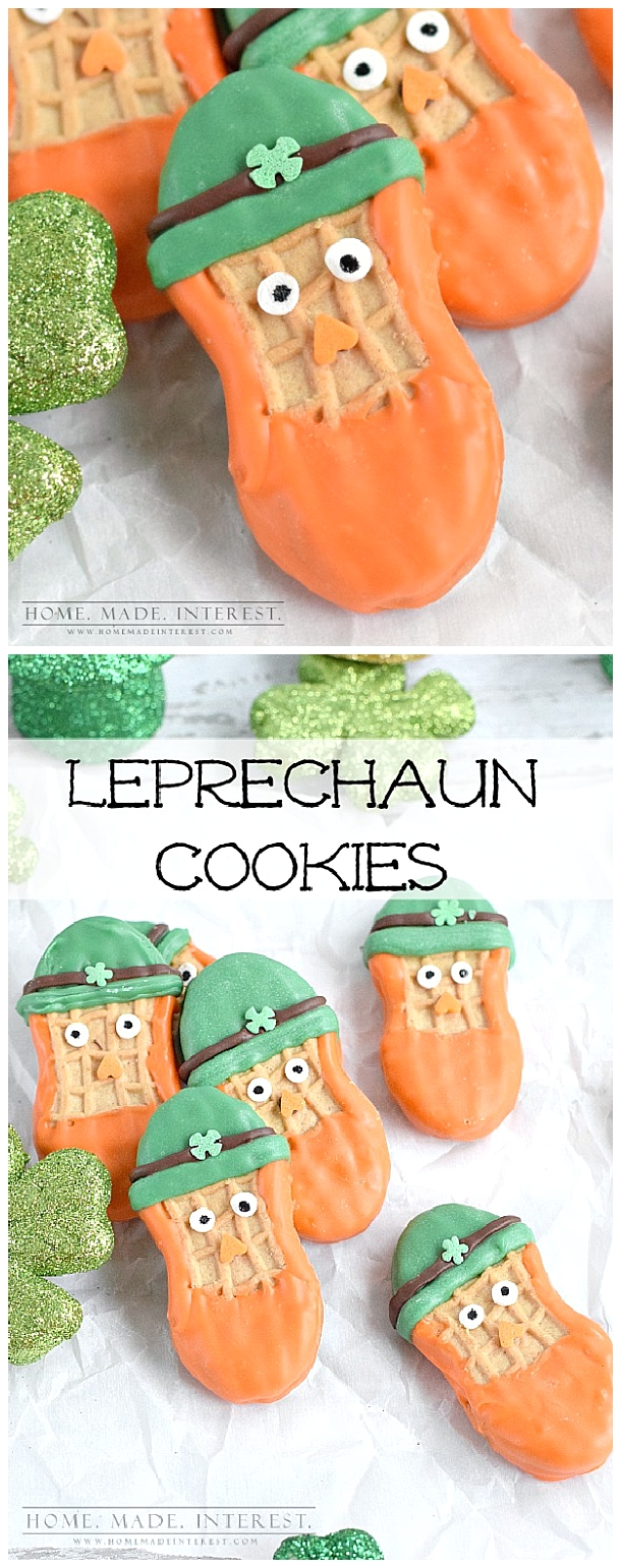 """These leprechaun cookies are a fun and easy St. Patrick's day treat for St. patrick's day parties or just a treat for the kids.""  via Home. Made. Interest.  #easystpatricksdaydesserts #stpatricksday #stpatricksdayparty #stpatricksdaypartyfood #lucky #luckygreen #luckytreats #shamrocks #clovers #rainbowtreats #leprechantreats"