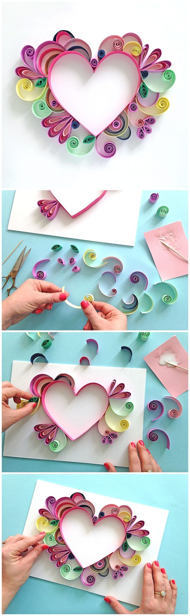 Learn How to Quill a darling Heart Shaped Mother's Day Paper Craft Gift Idea via Paper Chase - Moms and Grandmas will love these pretty handmade works of art! The BEST Easy DIY Mother's Day Gifts and Treats Ideas - Holiday Craft Activity Projects, Free Printables and Favorite Brunch Desserts Recipes for Moms and Grandmas #mothersdaygifts #mothersdaygiftideas #diymothersday #diymothersdaygifts #giftsformom #giftsforgrandma