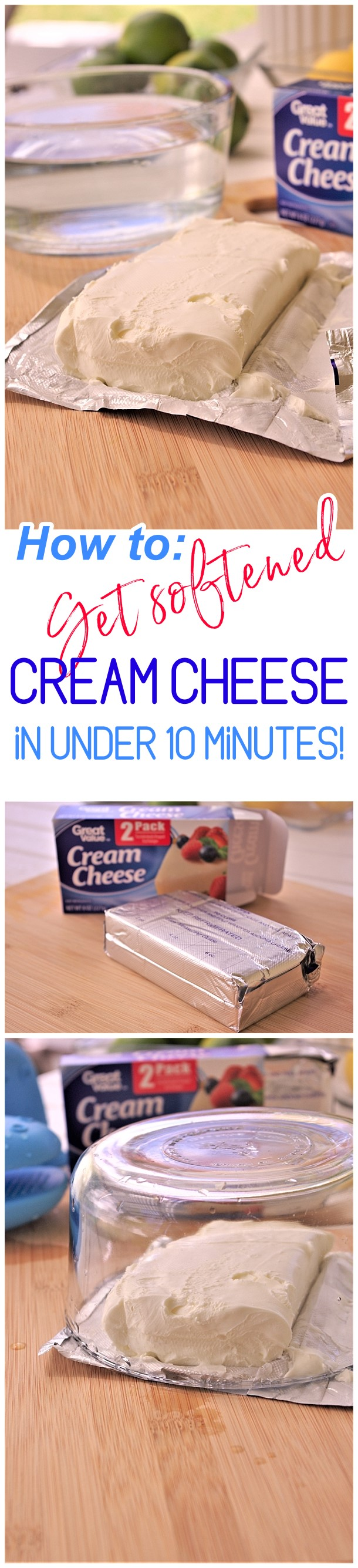 Clever Baking Hack - How to Get Softened Cream Cheese Not Melted in Under 10 Minutes EASY - Dreaming in DIY #bakinghack #softenedcreamcheese #creamcheesehack #kitchenhacks #cookinghacks #cookingtips #bakingtips #quicksoftenedcreamcheese