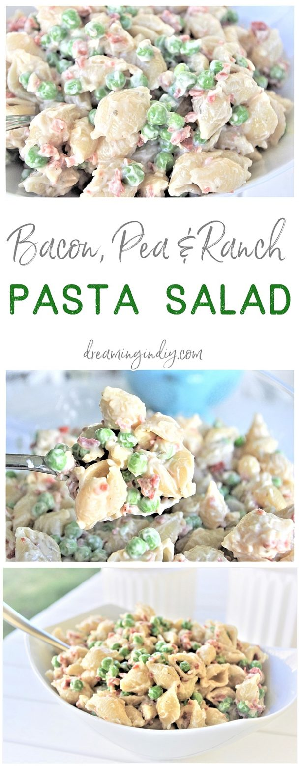 Easy Creamy Bacon Pea and Ranch Pasta Salad Side Dish Recipe Family Favorite - No chopping, dicing or waiting required. Ready in 15 minutes start to finish! SO yummy, quick, simple and perfect for 4th of July picnics, holiday potlucks, summer dinner parties and family barbecues by Dreaming in DIY