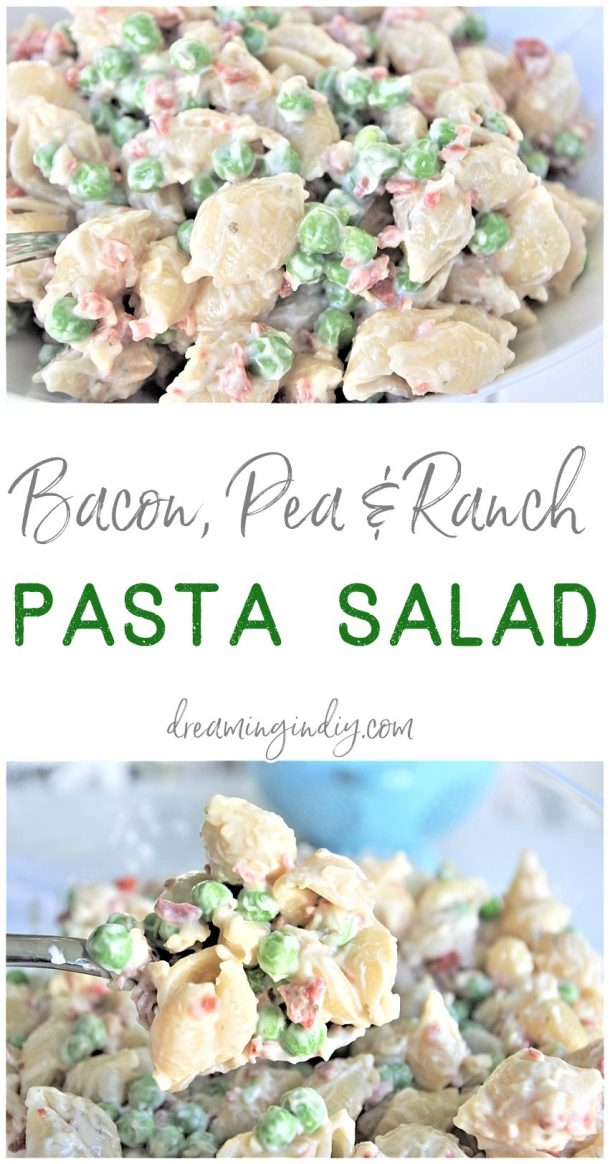 Easy Creamy Bacon Pea and Ranch Pasta Salad Side Dish Recipe Family Favorite - No chopping, dicing or waiting required. Ready in 15 minutes start to finish! SO yummy, quick, simple and perfect for 4th of July picnics, holiday potlucks, summer dinner parties and family barbecues by Dreaming in DIY #quickpastasalads #easypastasalads #pastasalad #baconpeapastasalad #bacon #pasta #potluck #barbecue #BBQ #partyfood #tailgating