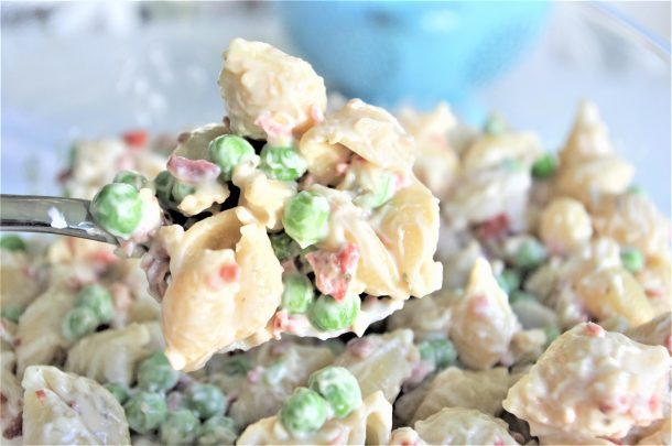 Creamy Bacon Pea and Ranch Pasta Salad - Quick and Easy Side Dish Recipe