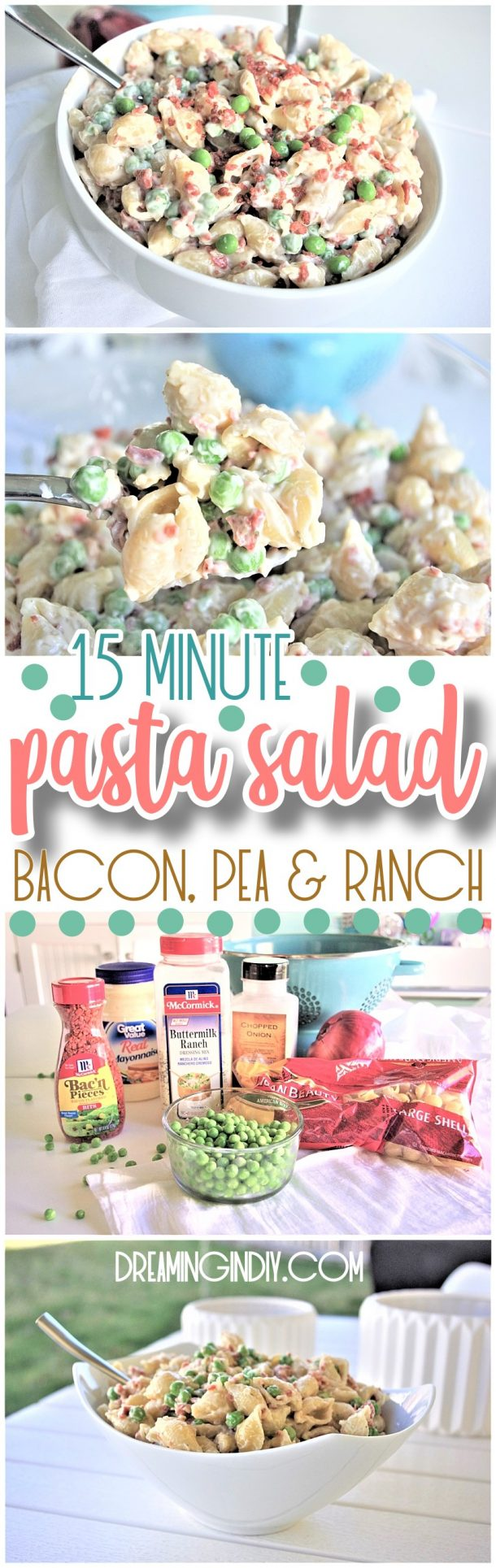 Easy Creamy Bacon Pea and Ranch Pasta Salad Side Dish Recipe - No chopping or dicing required and perfect for 4th of July and Memorial Day picnics, potlucks, block parties and barbecues. NO waiting! #quickpastasalads #easypastasalads #pastasalad #baconpeapastasalad #bacon #pasta #potluck #barbecue #BBQ #partyfood #tailgating Simple crowd favorite that's quick and ready to eat in 15 minutes. SO YUMMY, SO FAST! - Dreaming in DIY