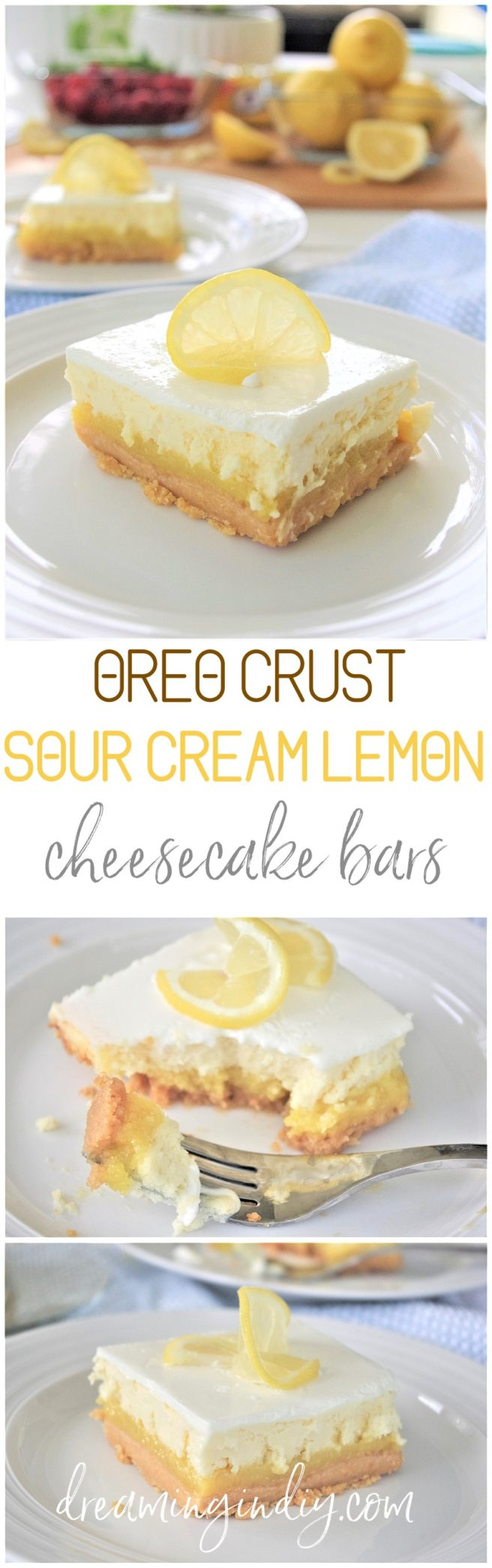 Lemon Sour Cream Cheesecake Dessert Bars with Lemon Oreo Crust - Easy Layered Treats Yummy Recipe via Dreaming in DIY #lemondesserts #lemonbars #easylemonbars #lemoncheesecakebars #cheesecakebars #easydesserts #simpledesserts #simplerecipes #simpledessertrecipes