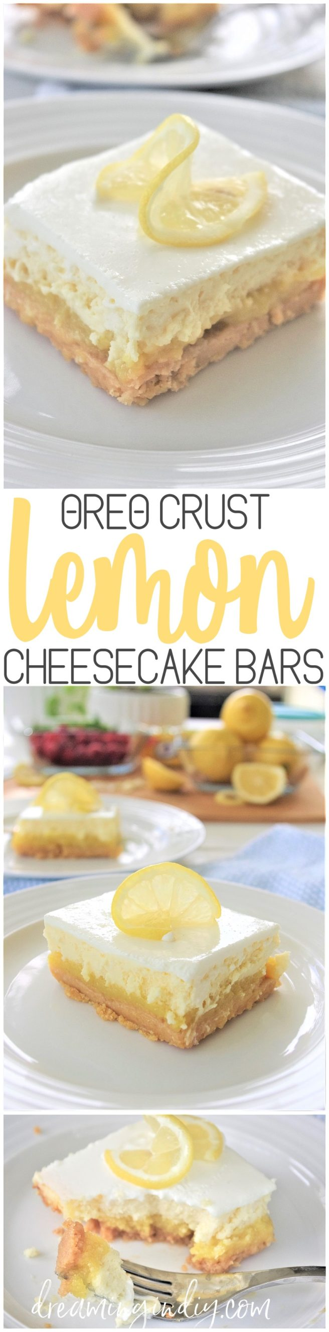 Oreo Crust Easy Sour Cream Lemon Layered Cheesecake Dessert Bars Recipe via Dreaming in DIY #lemondesserts #lemonbars #easylemonbars #lemoncheesecakebars #cheesecakebars #easydesserts #simpledesserts #simplerecipes #simpledessertrecipes