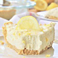 Easy No Bake Lemon Cheesecake Ice Box Pie with Lemon Oreo Crust Dessert Recipe via Dreaming in DIY