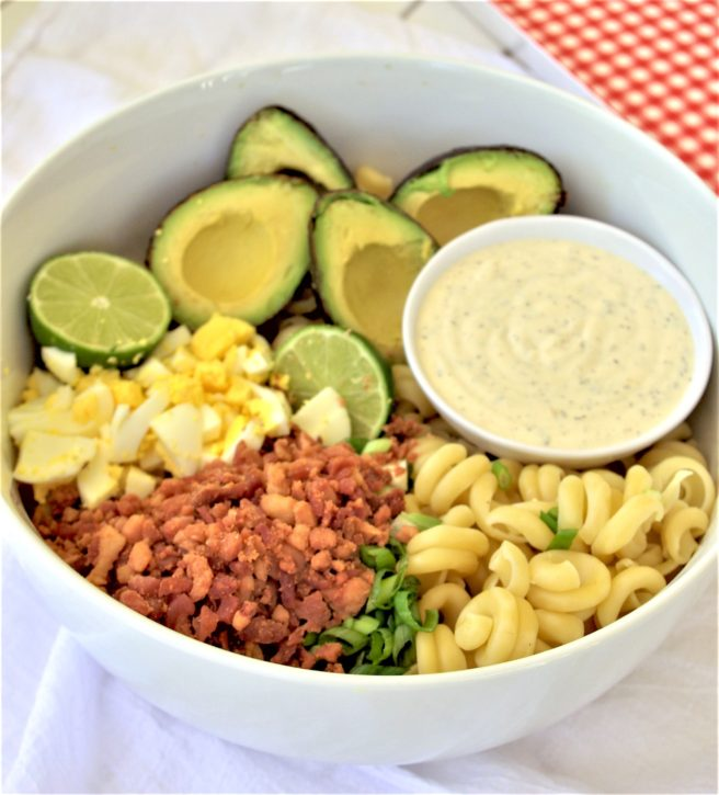 Avocado Egg Bacon Pasta Salad Recipe Perfect for Potlucks, 4th of July cookouts, barbecues and backyard parties! via Dreaming in DIY
