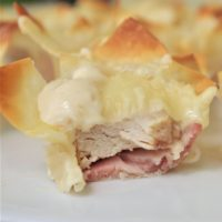 Chicken Cordon Bleu Cups - Easy Yummy Bite Sized Appetizer Recipe via Dreaming in DIY - So delicious