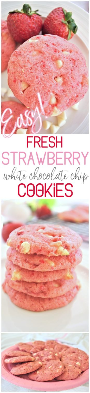 Easy Fresh Strawberry White Chocolate Chip Cookies Dessert Yummy and Quick Recipe via Dreaming in DIY