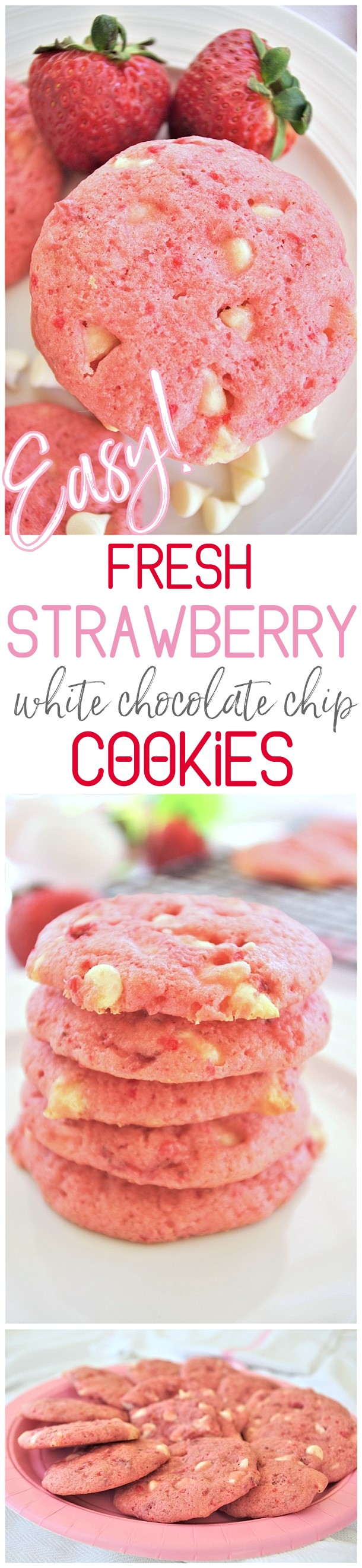 Easy Fresh Strawberry White Chocolate Chip Cookies Dessert Yummy and Quick Recipe via Dreaming in DIY #strawberrycookies #strawberrywhitechocolatecookies #easycookies #pinkcookies #valentinesdaydesserts #valentinesday #babyshowerdesserts #bridalshowerdesserts #brunch #springdesserts #summerdesserts