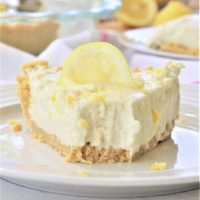 Easy No Bake Lemon Cheesecake Ice Box Pie with Lemon Oreo Crust Dessert Recipe Served Yummy via Dreaming in DIY