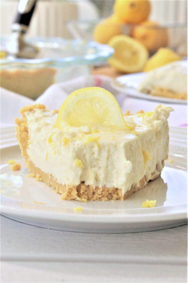 Easy No Bake Lemon Cheesecake Ice Box Pie with Lemon Oreo Crust Dessert Recipe Served Yummy via Dreaming in DIY