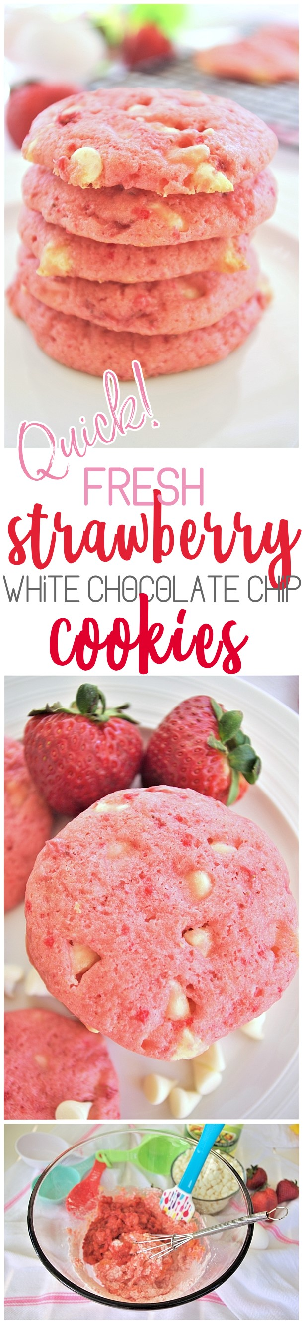 Fresh Strawberry White Chocolate Chip Cookies Dessert Easy and Quick Treats Recipe - #strawberrycookies #strawberrywhitechocolatecookies #easycookies #pinkcookies #valentinesdaydesserts #valentinesday #babyshowerdesserts #bridalshowerdesserts #brunch #springdesserts #summerdesserts This recipe is so quick, easy and PERFECT for so many occasions. Darling pink gender reveal baby girl showers, Valentine's Day desserts and gift plates, bridal shower dessert tables, any spring and summer birthday party or reason for celebration! via Dreaming in DIY