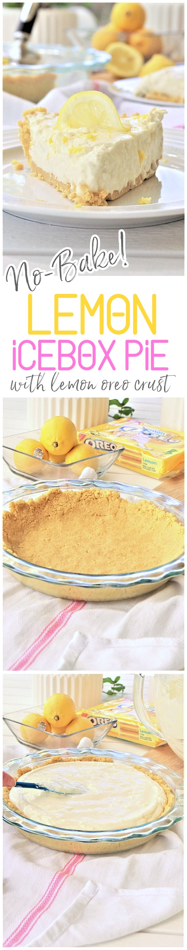 No Bake Lemon Oreo Crust Lemon Cheesecake Icebox Pie Pretty, Easy, Quick and Yummy Dessert Recipe - perfect for Mother's Day Brunch and Easter Dinners or any Spring or Summer Dinner or Holiday Party via Dreaming in DIY #lemoniceboxpie #nobakelemoncheesecake #nobakecheesecake #nobakedesserts #lemondesserts #easydesserts #easylemondesserts #easter #mothersdaydesserts #easterdesserts #springdesserts #summerdesserts #lemonpie