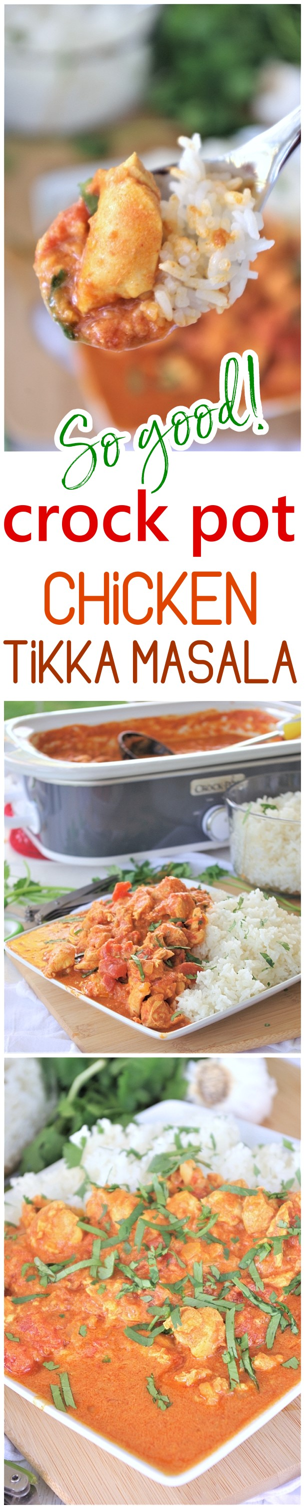 Crock Pot Chicken Tikka Masala Easy Family Supper Recipe by Dreaming in DIY - This easy family style slow cooker recipe for chicken tikka masala is going to become your new go-to and standby supper for busy weeknights and lazy weekends.  It's just so buttery and full of melt in your mouth Indian inspired deliciousness.
