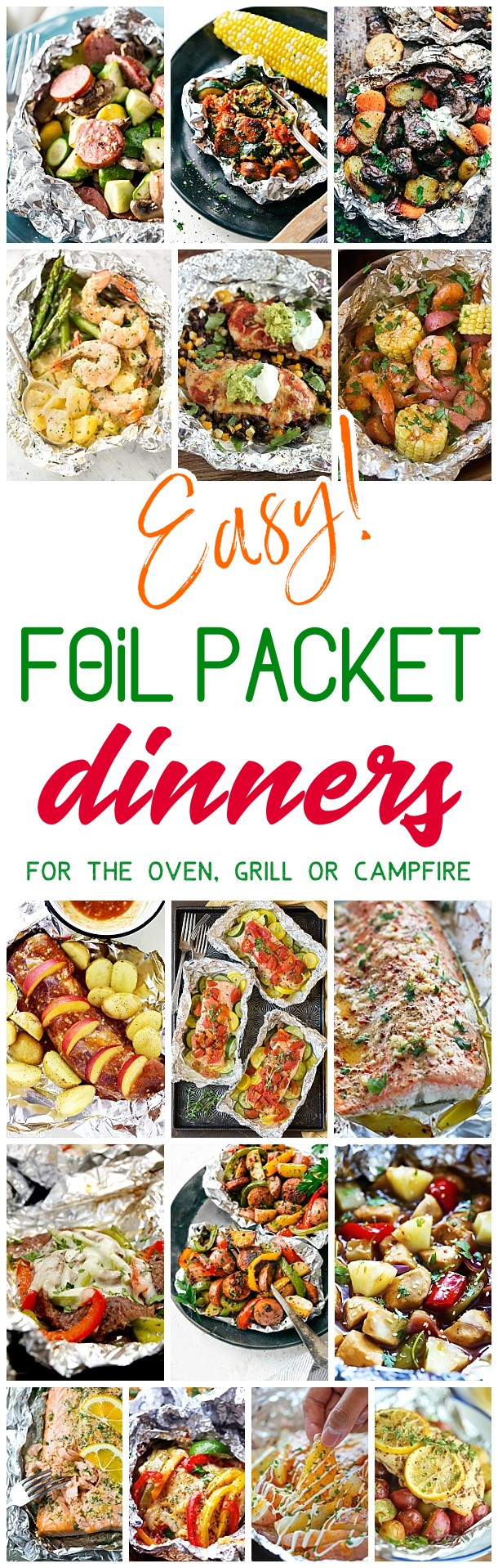 Easy Tin Foil Packets Dinners Recipes - Easy meal prep and easy, quick clean up! So many delicious chicken, beef, salmon, pork, shrimp and chicken tin foil packet dinners you and your family can enjoy making in the oven all year long, throwing on the backyard grill or tossing in the campfire coals this summer! Dreaming in DIY #tinfoildinners #tinfoilsuppers #tinfoilmeals #tinfoildinnerrecipes #foilpacketmeals #foilpacketrecipes #healthyrecipes #mealprep #healthysuppers #healthydinners #healthylunches #simplefamilymeals #simplefamilyrecipes #simplerecipes