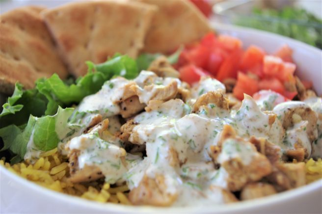 Easy Street Cart Style Mediterranean Chicken and Rice Bowls or Pitas Recipe via Dreaming in DIY