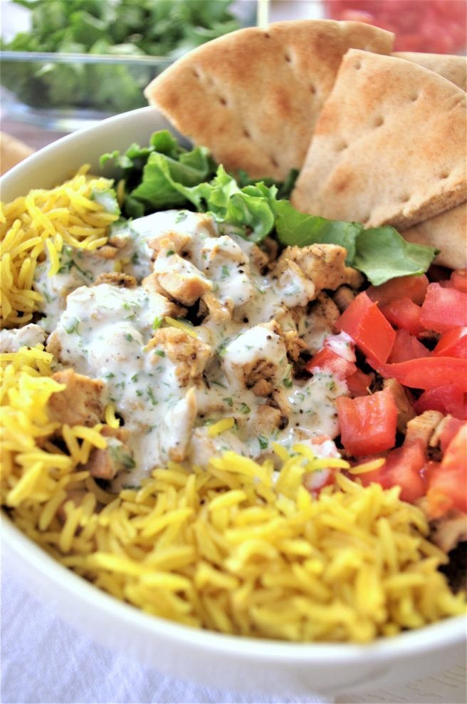 Easy and Delicious Street Cart Mediterranean Chicken and Rice Bowls or Pitas Recipes via Dreaming in DIY