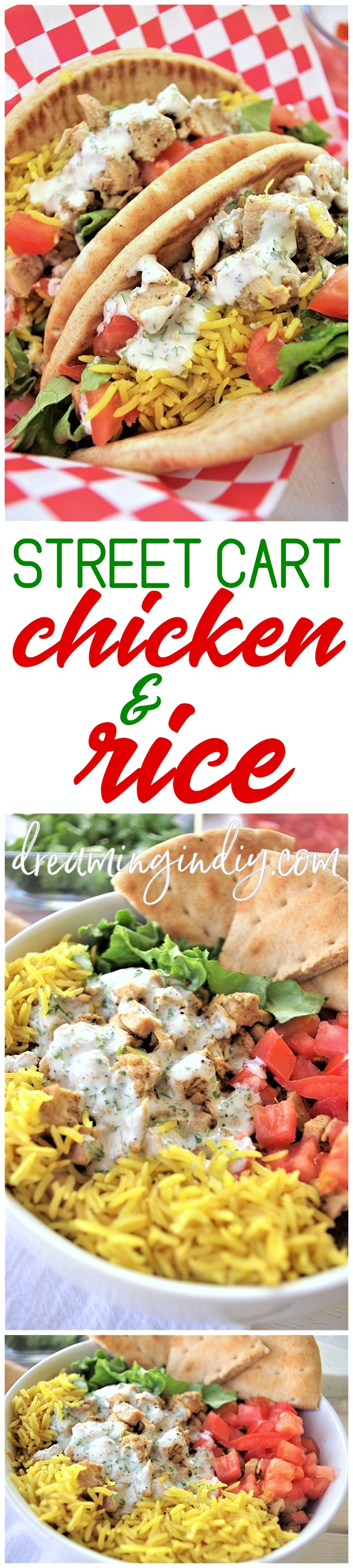 Easy and Delicious Street Cart Mediterranean Chicken and Rice Bowls or Pitas Sandwich Quick and Simple Recipes via Dreaming in DIY - This street vendor cart style chicken and rice recipe is PACKED with amazing Mediterranean flavors! #streetcartfood #streetcartchickenandrice #yellowrice #halalchickenandrice #halalstyle #halal #chickenandrice #chickenrecipes #streetcartstylefood #cookout #partyfood #summerfood #chicken #rice