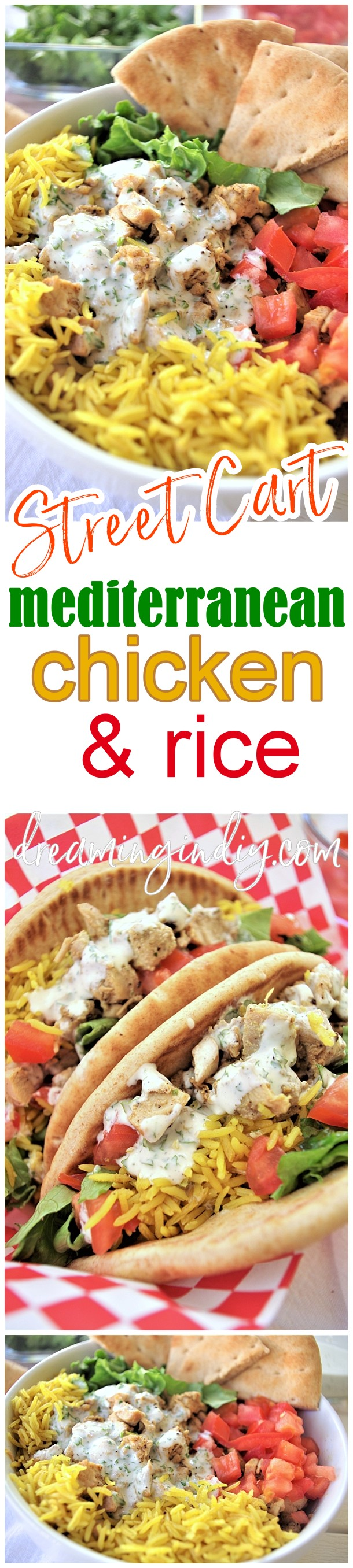 "Easy and Delicious Street Cart Mediterranean Chicken and Rice Bowls or Pitas Sandwich Quick and Simple Recipes via Dreaming in DIY - This street vendor cart style chicken and rice recipe is PACKED with amazing Mediterranean flavors! #streetcartfood #streetcartchickenandrice #yellowrice #halalchickenandrice #halalstyle #halal #chickenandrice #chickenrecipes #streetcartstylefood #cookout #partyfood #summerfood #chicken #rice The sauce is what really elevates this recipe from ""delicious and we really liked it"" to ""Total keeper - must make again SOON!"" status."