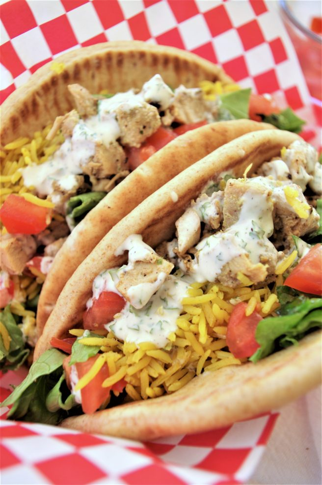 Easy and Delicious Street Cart Style Mediterranean Chicken Pita Sandwiches Recipe via Dreaming in DIY