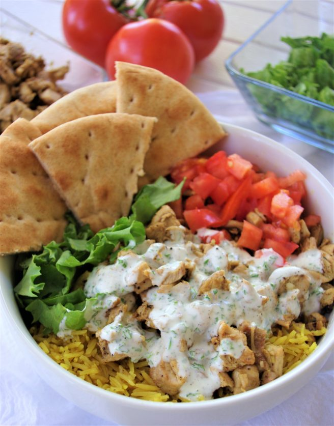 Street Cart Mediterranean Chicken and Rice Bowls or Pitas Recipes via Dreaming in DIY