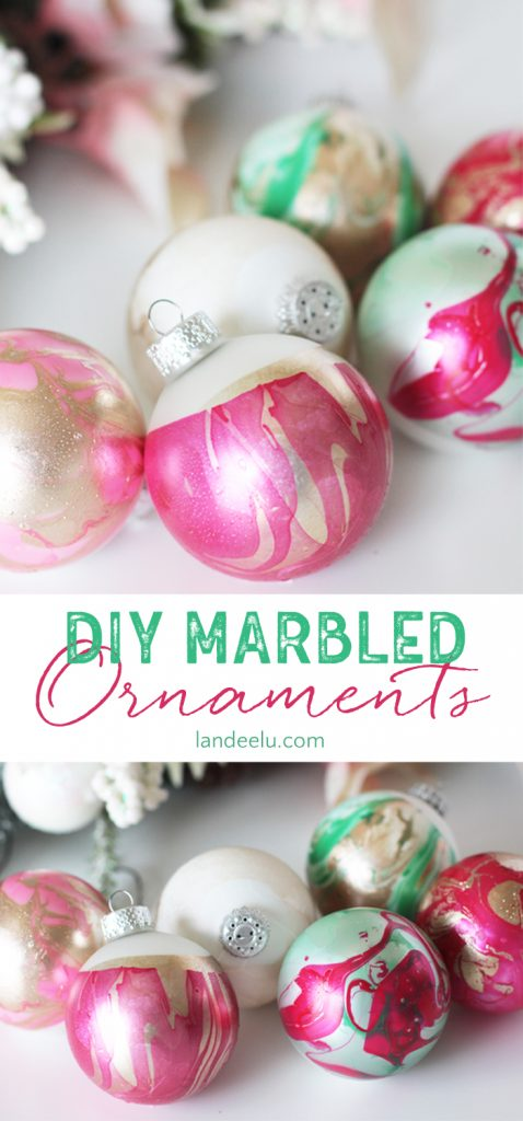These DIY Marbled ornaments using nail polish look like so much fun and I LOVE how they turn out! I want to do this to all of my plain ornaments!