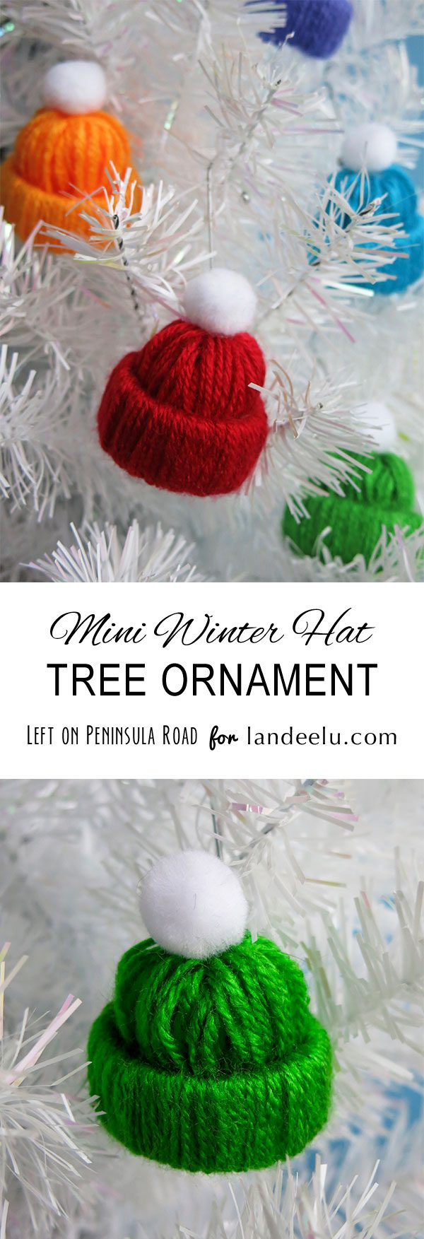 Mini Winter Yarn Hat Christmas Tree Ornaments Tutorial | Landeelu - such an easy and fun kids craft activity for Christmas time!