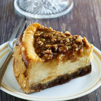 Pecan Pie Cheesecake Thanksgiving and Christmas Dinner Dessert Recipe via Dreaming in DIY