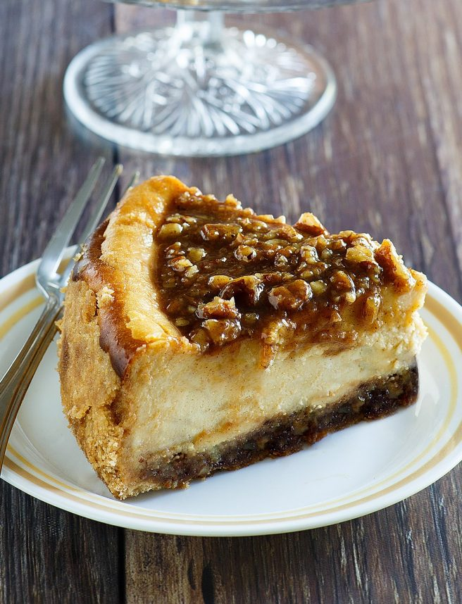 Pecan Pie Cheesecake Thanksgiving and Christmas Dinner Dessert Recipe - perfect for Fall and Winter Dinner Parties and holiday dessert tables! via Dreaming in DIY