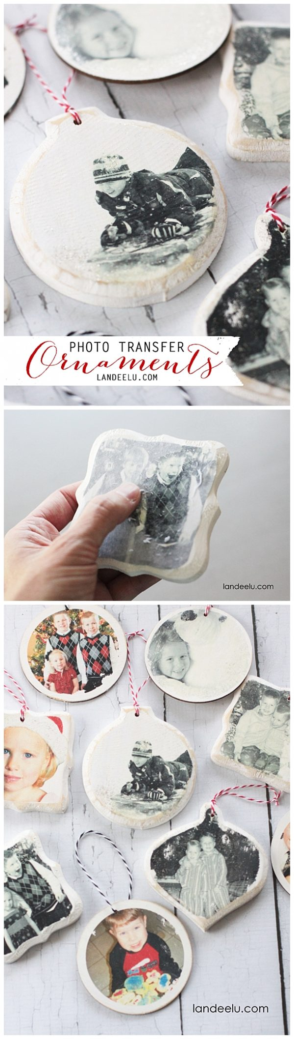 DIY Photo Transfer Christmas Tree Ornaments: Step by Step Tutorial | Landeelu - She walks you through the step by step no fail process of creating these darling keepsakes!