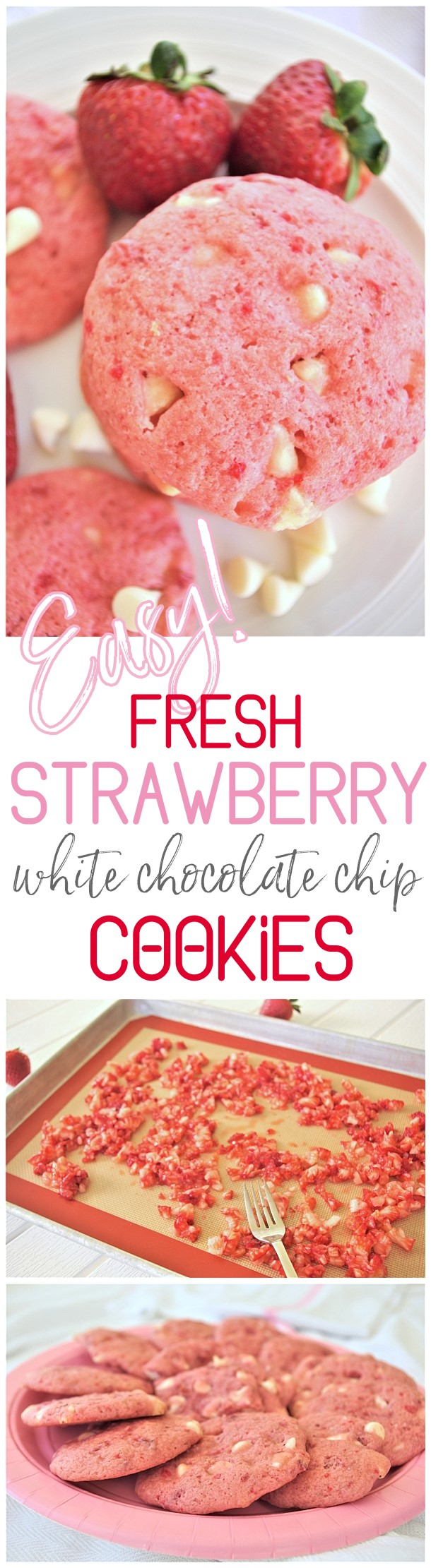 Valentine's Day Easy Fresh Strawberry White Chocolate Chip Cookies Quick, Simple and SO yummy! via Dreaming in DIY #valentinesdaycookies #valentinesdaytreats #valentinesdaydesserts #strawberrycookies #strawberrywhitechocolatechip #cookies #strawberry #pinkcookies Easy Valentine's Day Dessert Recipes - Pink and Red Party Treats #valentinesdaydesserts #easyvalentinesdaydesserts