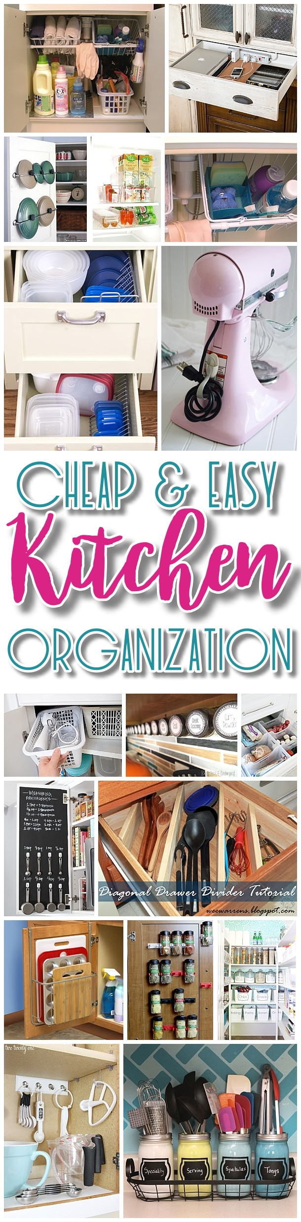 EASY Budget Friendly Ways to Organize your Kitchen {Quick Tips, Space Saving Tricks, Clever Hacks & Organizing Ideas} via Dreaming in DIY #kitchenhacks #kitchenorganization #kitchenhacks #kitchenideas #organizethekitchen