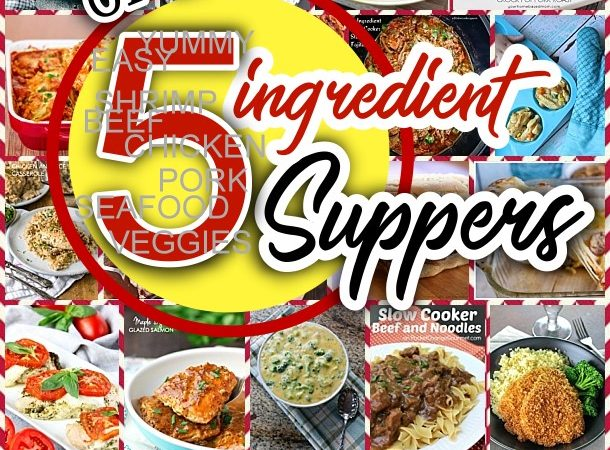 Easy 5 Ingredients or LESS Recipes for Simple Family Suppers Lunch and Dinner Chicken Pork Beef Fish Shrimp and Pasta Quick Favorites via Dreaming in DIY