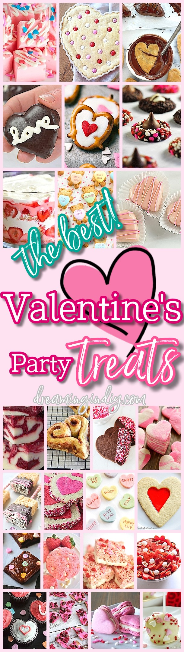 The BEST Easy Valentine's Day Pink and Red Desserts and Heart Shaped Holiday Party Treats Recipes on Dreaming in DIY #valentinesdaydesserts #easyvalentinesdaydesserts #valentinesdaytreats #pinkandred #pinkdesserts #reddesserts #valentinesdayparty #valentinesday #heartshapedtreats #hearts #love