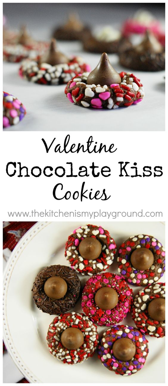 Valentine Chocolate Kiss Cookies | The Kitchen is My Playground - Easy Valentine's Day Dessert Recipes - Pink and Red Party Treats #valentinesdaydesserts #easyvalentinesdaydesserts #valentinesdaytreats #pinkandred #pinkdesserts #reddesserts #valentinesdayparty #valentinesday #heartshapedtreats #hearts #love