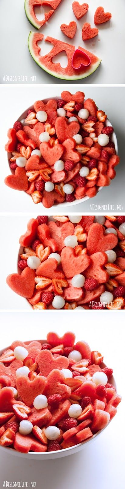 Valentine Cookie Cutter Fruit Salad | Wit & Whistle - Easy Valentine's Day Dessert Recipes - Pink and Red Party Treats #valentinesdaydesserts #easyvalentinesdaydesserts #valentinesdaytreats #pinkandred #pinkdesserts #reddesserts #valentinesdayparty #valentinesday #heartshapedtreats #hearts #love