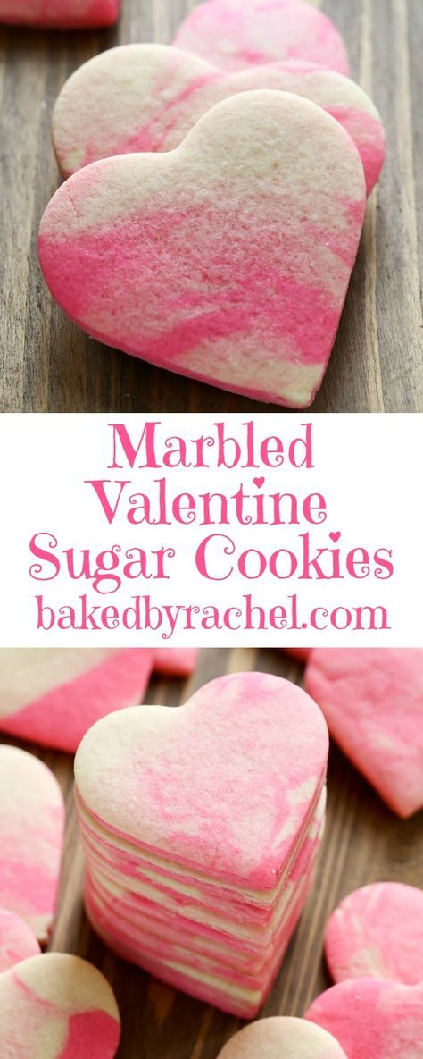 Valentine Marbled Sugar Cookies | Baked by Rachel - Easy Valentine's Day Dessert Recipes - Pink and Red Party Treats #valentinesdaydesserts #easyvalentinesdaydesserts #valentinesdaytreats #pinkandred #pinkdesserts #reddesserts #valentinesdayparty #valentinesday #heartshapedtreats #hearts #love