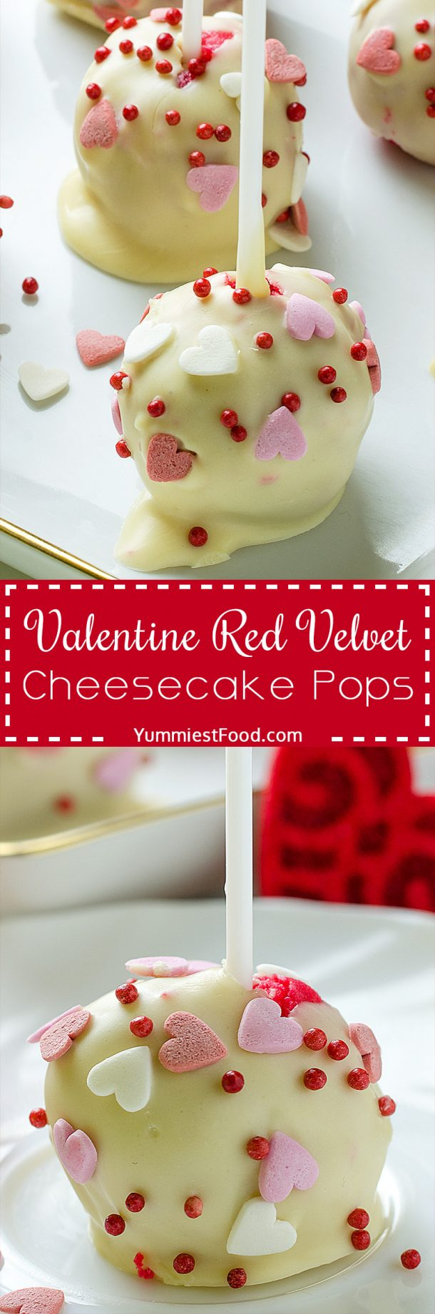 Valentine Red Velvet Cheesecake Pops | Yummiest Food - Easy Valentine's Day Dessert Recipes - Pink and Red Party Treats #valentinesdaydesserts #easyvalentinesdaydesserts #valentinesdaytreats #pinkandred #pinkdesserts #reddesserts #valentinesdayparty #valentinesday #heartshapedtreats #hearts #love