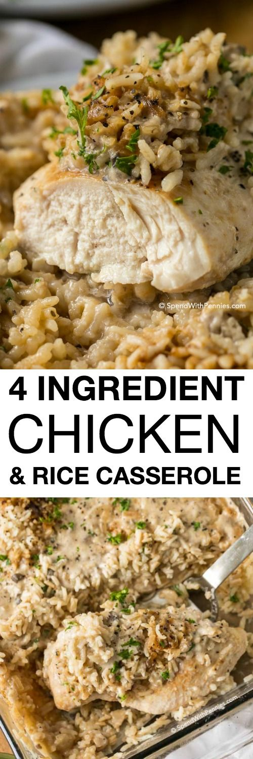 4 Ingredient Chicken Rice Casserole | Spend with Pennies #5ingredientsuppers #5ingredientmeals #5ingredientdinners #5ingredientlunches #5ingredientrecipes #easyrecipes #quickrecipes #simplefamilyrecipes #simplefamilymeals