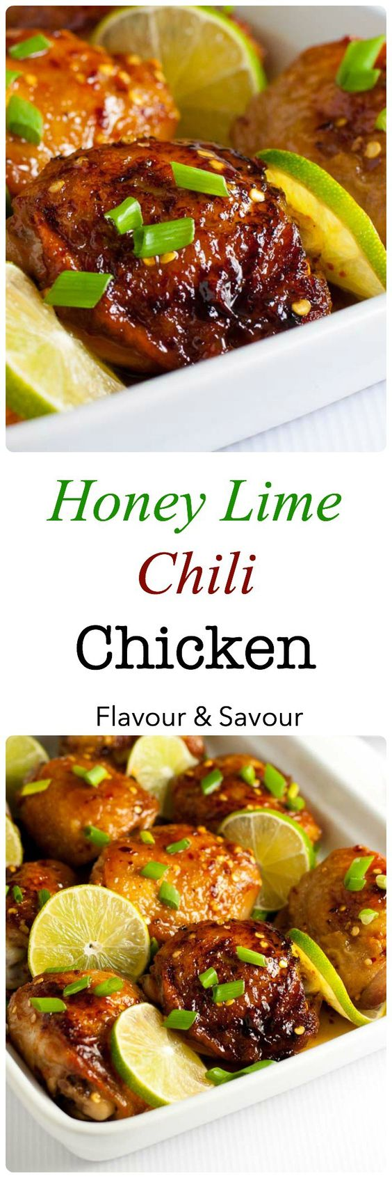 """This recipe for 4-Ingredient Honey Lime Chili Chicken Thighs makes an easy weeknight meal. It's sweet, spicy and succulent!"" 4 Ingredient Honey Lime Chili Chicken Thighs 