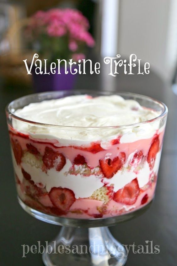 Easy Valentine Trifle Dessert recipe. Yum! This looks amazing! Definitely going to make this Valentine's Day treat. - Easy Valentine's Day Dessert Recipes - Pink and Red Party Treats #valentinesdaydesserts #easyvalentinesdaydesserts #valentinesdaytreats #pinkandred #pinkdesserts #reddesserts #valentinesdayparty #valentinesday #heartshapedtreats #hearts #love