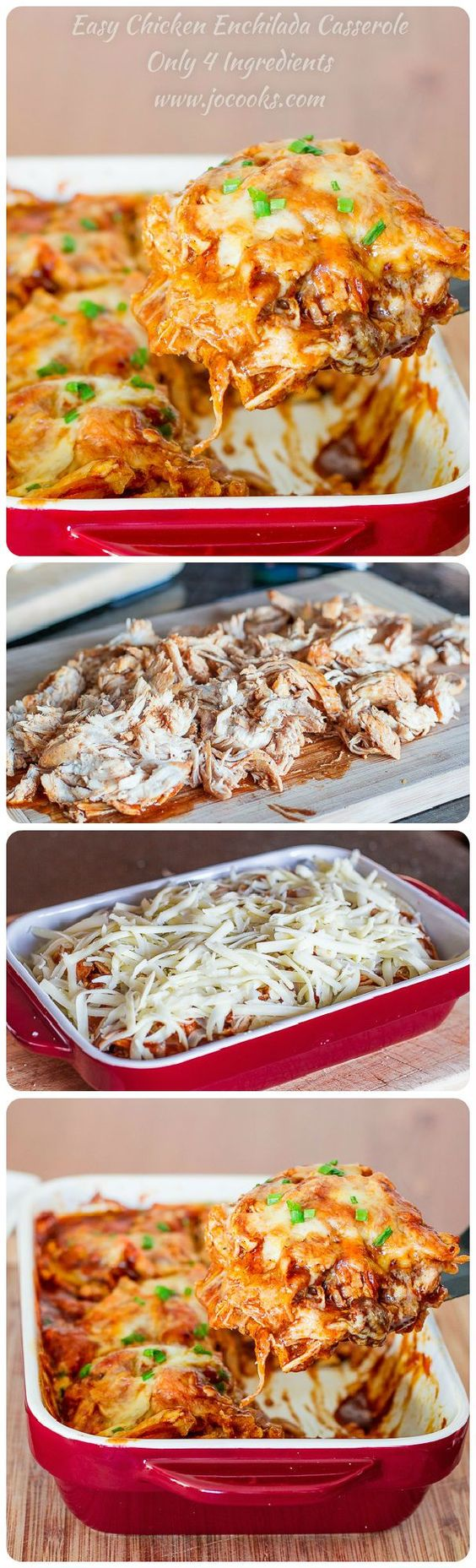 "Easy Chicken Enchilada Casserole - ""4 ingredients is all it takes to make this popular Mexican dish. It's cheesy, it's spicy, it's sinfully delicious."" Easy Chicken Enchilada Casserole 